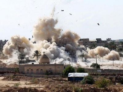 An image from social media of Egyptian military purportedly demolishing homes in Northern Sinai. (Twitter/@GalalAmrG)