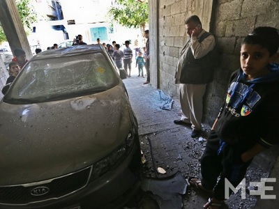 Scene of one of the bombings at the home of a Fatah member in Gaza (MEE/Mohammed Asad)