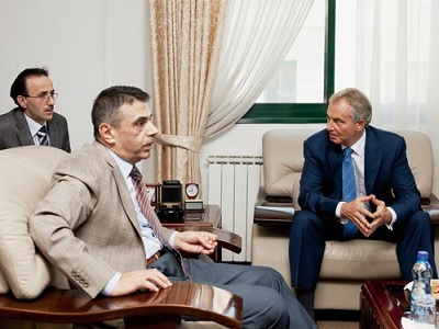 A file photo of Omar Kittaneh, Head of the Palestinian Energy Authority with Tony Blair.