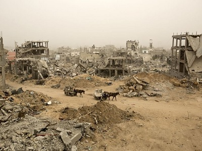 A flattened neighborhood in Gaza as a result of the Israeli war. (Mohammed Abed, supplied)