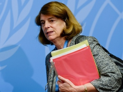 Mary McGowan Davis, Chairperson, Independent Commission of Inquiry on the 2014 Gaza Conflict, at a press conference to launch the report. (UN)