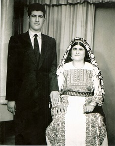 My father, Sami Bahour, with his mother Badia in Al-Bireh, Palestine before he immigrated to the United States in 1957. (Supplied)