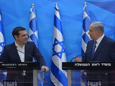 Alexis Tsipras with Israel's Benjamin Netanyahu at a press briefing on Nov 26, 2015, during Tsipras' visit to Israel.