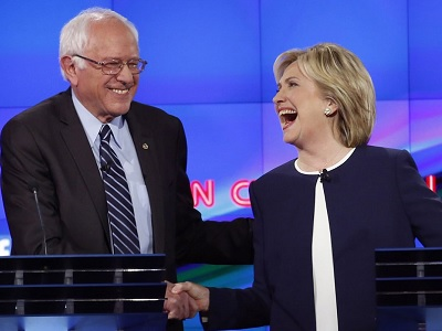 Bernie Sanders and Hillary Clinton, the two Democratic Party Presidential nominees, pictured after a televised debate on CNN.