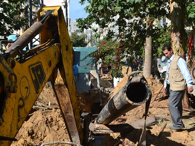 Water network repairs in Gaza City. (CMWU, Supplied)