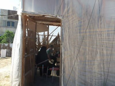 Palestinian-Syrian family lives in a nylon tent after being expelled by a landlord during to inability to pay rent (Photo: PCRF)