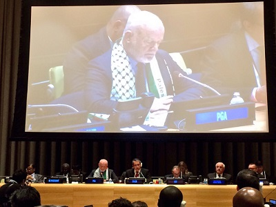 Peter Thomson's speech marked the International Day of Solidarity with the Palestinian People.  (Photo: via Twitter)