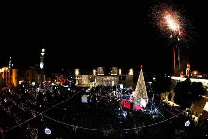 Thousands Gather For Christmas Tree Lighting In Bethlehem